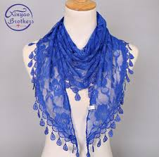 Solid Hijab Lady Lace <b>Silk</b> Scarf Tassel <b>Women</b> Triangle Bandage ...