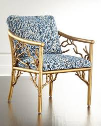 Blue Patterned Chair Custom Gold Tree Motif Base Blue Patterned Seat Accent Chair Blue