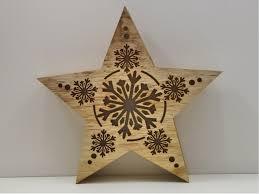 Deko Holz Leucht Stern Led Beleuchtet Weihnachtsstern Schnee Flocken Muster