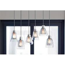 kichler 43628ni evie linear chandelier with 6 lights featuring mercury glass brushed nickel