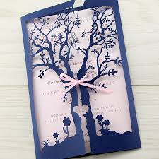 laurel tree laser with ribbon wedding invitation pure invitation wedding invites
