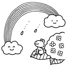 虹とカエル白黒梅雨6月の無料イラスト夏の季節行事素材