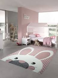 kids rug play carpet kids room baby rug bunny in pink white gray