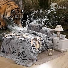 wild tiger print 4 piece polyester bedding sets duvet cover sets