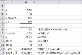 Statistical Power Formula Power For Multiple Regression Real Statistics Using Excel