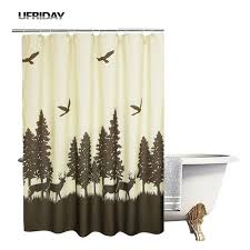 ufriday nature theme shower curtain modern design polyester bath curtain deer in the forest pattern bathroom