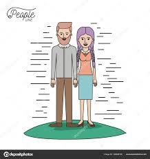似顔絵カップルの人々 ラインひげを生やした男性と女性の白い背景の上の