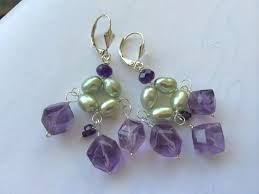 amethyst pearls silver chandelier earrings gem bliss camp sun to expand