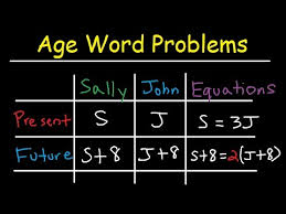 age word problems in algebra past