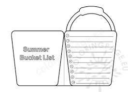 Bucket List Printable Template Summer Bucket List For Kids Printable Coloring Page