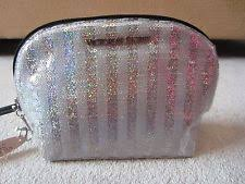 victoria s secret silver striped bling sparkle makeup cosmetics zip up bag nwt