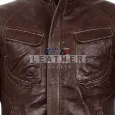 shark brown washed leather jacket for men men leather jackets replica leather jackets at bargain