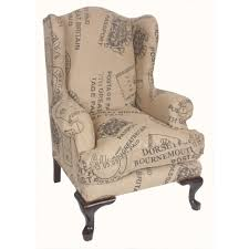 Shabby Chic Bedroom Chairs Uk Queen Ann Wingback Oak Hessian Vintage Stamp Print Armchair Seat