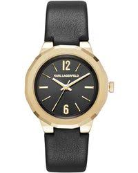 shop men s karl lagerfeld watches from 125 lyst karl lagerfeld joleigh goldtone three hand leather strap watch lyst