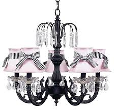 chic waterfall black chandelier with pink shades
