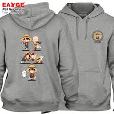 Design One Hoodie Us 29 98 Monkey D Luffy And One Punch Man Hoodies Novelty Design Active Fleece Hoodies Fashion Skate Punk Unisex Fleece Gray Pullover In Hoodies