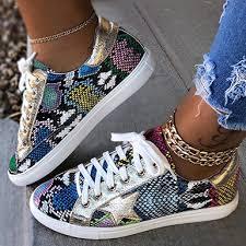 Women's Patchwork <b>Print Lace</b>-<b>Up</b> Sneakers - Metallic Star Trim ...