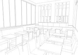 無料背景線画カフェ1店内細 漫画背景素材ココ Booth