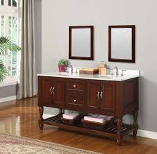 picture of 60 mission turnleg style double bathroom vanity sink console carrera marble top
