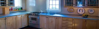 zinc top with integrated sink and bullnose edge