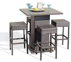 Venus Outdoor Pub Table With Bar Stools 5Piece Set  Tropical Outdoor Wicker Bar Furniture
