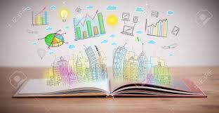drawing of a colorful business scheme on an opened book stock photo 22043495
