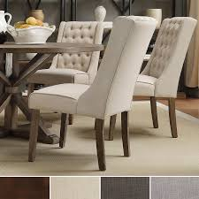 Inspire Q Evelyn Tufted Wingback Hostess Chairs Linen Chair Bedroom Ivory  Wingback Chair Bedroom Designs