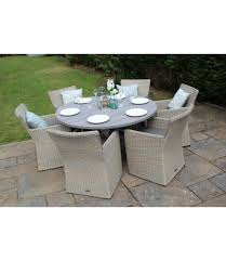 kingston round rattan 6 seater dining acacia table set champagne grey