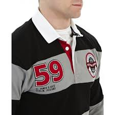sportswear guinness black grey stripe rugby jersey