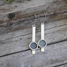 Eclipse long dangle earrings - <b>sterling silver original design</b> quirky ...