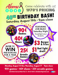 the anniversary celebration kicks off with deals from 9 p m to close every night from monday aug 14 to thursday aug 17 at aloma bowl in winter park