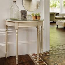 hallway table and mirror. Half Moon Narrow Console Table With Glass Top And Painted White Color Under Wall Mirror For Small Hallway Spaces Ideas O