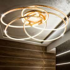 led ring ceiling lamp gold light color adjule barna bild 5