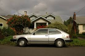 OLD PARKED CARS.: 2 Silver Beans on 1 Block: 1981 Honda Accord LX.
