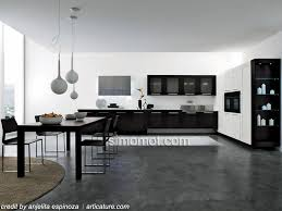 modern black white. Desain Interior Dapur Minimalis Modern Black And White A