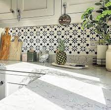 diy painted and stenciled kitchen tile
