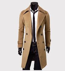 item mens slim fit wool long overcoat jacket tops double ted black coat outwear thickness moderate placket double ted collarmodel suit collar