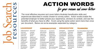 Resume Action Words And Phrases Resume Action Words By Category