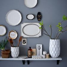 Small Decorative Plates Interior Living Room Wall Decorating Idea With Wall Open Shelf
