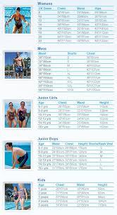 Zoggs Swimwear Size Guide