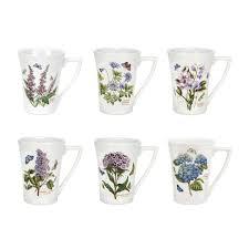 com portmeirion botanic garden set of 6 mandarin mugs assorted motifs kitchen dining