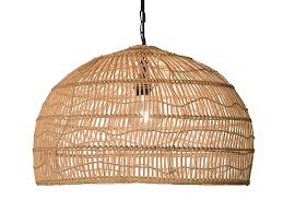 quick view open weave cane rib dome pendant lamp natural