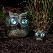 solar owls accent lights set of 2