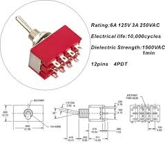 pdt pins a vac a vac way mini toggle switch buy 4pdt 12pins 3a 250vac 6a 125vac 3 way mini toggle switch