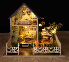 nordic holiday euro style large diy doll house 3d miniature light wood handmade kits building model home decoration piano in doll houses from toys