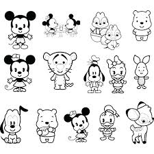 Cute Cartoon Characters Coloring Pages Baby Cartoon Characters