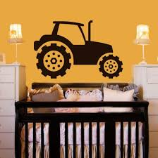 2d driving tractor wall decal