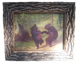 dancing bears william baird s famous turn of the century print called the dancing bears framed in ash bark approximate finished size 16 x20