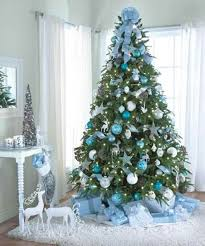 christmas tree decoration blue and silver happy holidays Blue Xmas Tree  Decorations Elegant Blue Xmas Tree Decorations