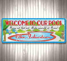 Swimming Pool Decor Signs Home Pool Personalized Welcome Sign Custom Backyard Sign 94